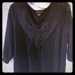 Lane Bryant lace trim 3/4 length sweater